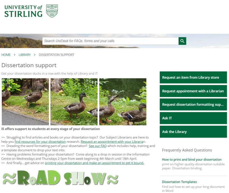 University of Stirling Self Service portal