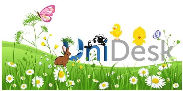 UniDesk logo in spring scene
